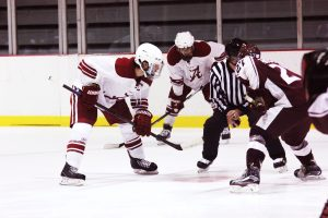 Andre Morard takes an offensive zone faceoff against Missouri State.